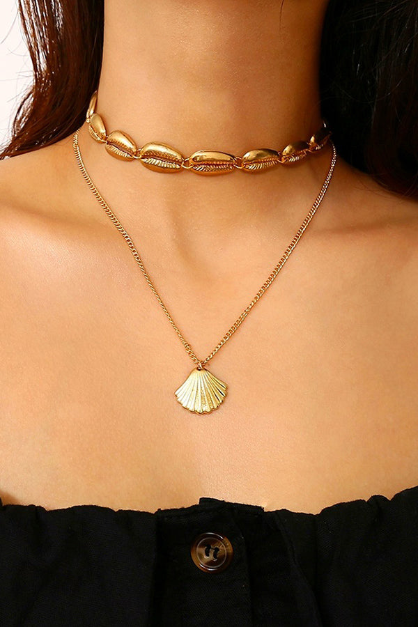 Shell Pendant Double Layered Necklace