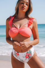 Ruffle Strap High Wasist Bikini Set