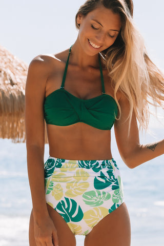 High Waist Halter Neck Printed Bikini Set