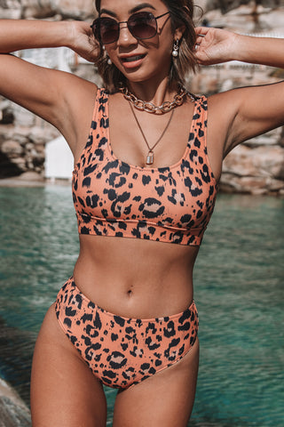 Leopard Print High Waisted Bikini Set