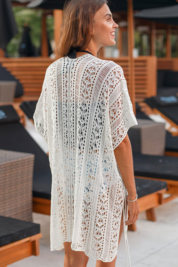 Solid Color Crochet Cover-Up