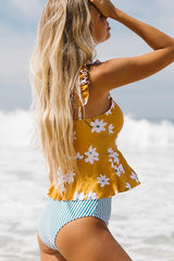 Cute Girl Ruffle Shoulder Flower Print Tankini Set