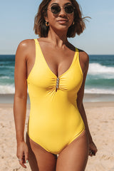 Solid Color Yellow V Neck One Piece Swimwear