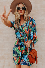 Button Drawstring Waisted Loose Style Fashion Dress