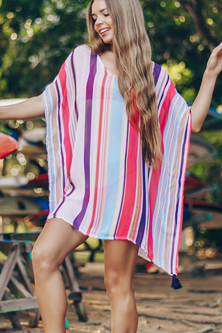 Colorful Stripe Print Swimwear Cover Up