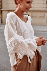 Layered Tassel V Neck Sweater