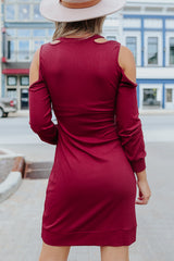 Knot Shoulder Long Sleeve Knitted Dress