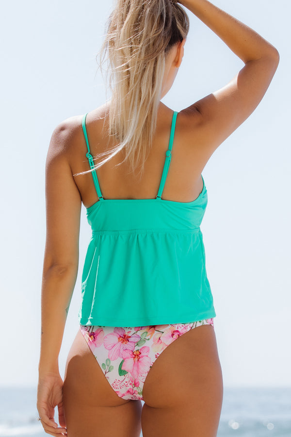 Cute Girl Bow Front Flower Print Tankini Set