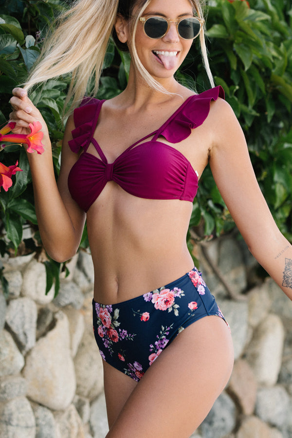 Cute Ruffle Shoulder High Waisted Bikini Set
