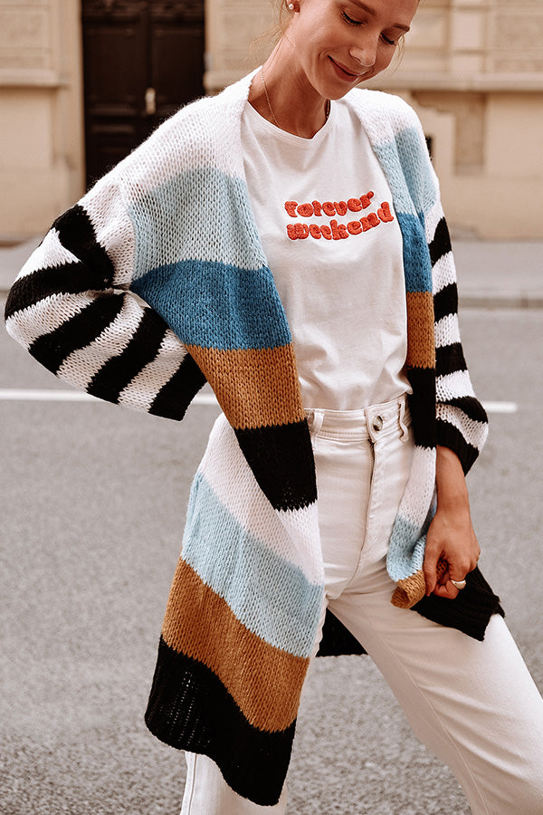 Stripe Print Patchwork Long Sleeve Cardigan
