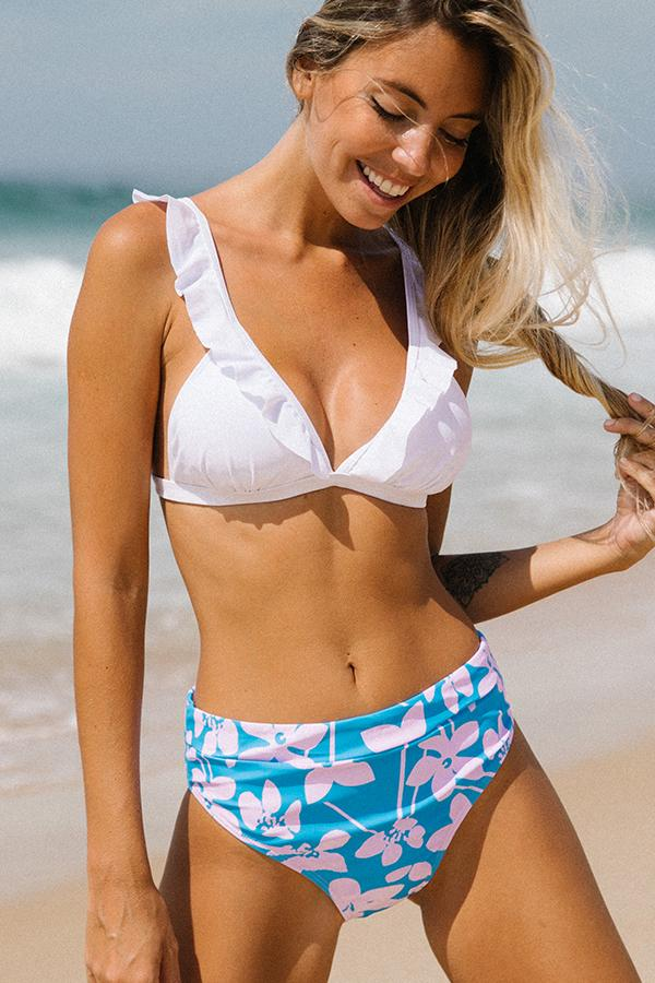 Deep V Neck Ruffle Flower Print Bikini Set