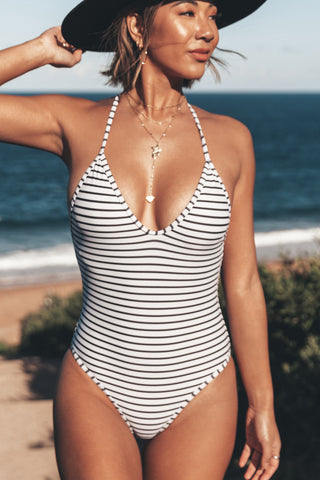 V Neck Stripe Print One Piece Swimwear