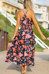 Flower Print High Waisted Maxi Dress