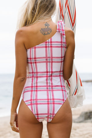 One Shouler Tie Design Lattice Print One Piece Swimsuit