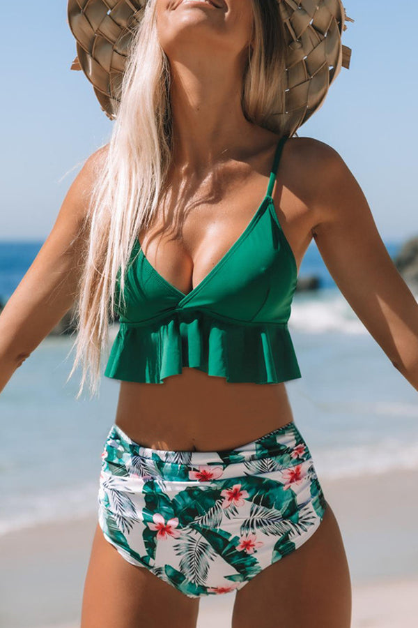 4 Colors High Waist Ruffle Overlay Printed Bikini Set