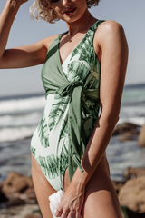 Leaf Print Side Tie One Piece Swimwear