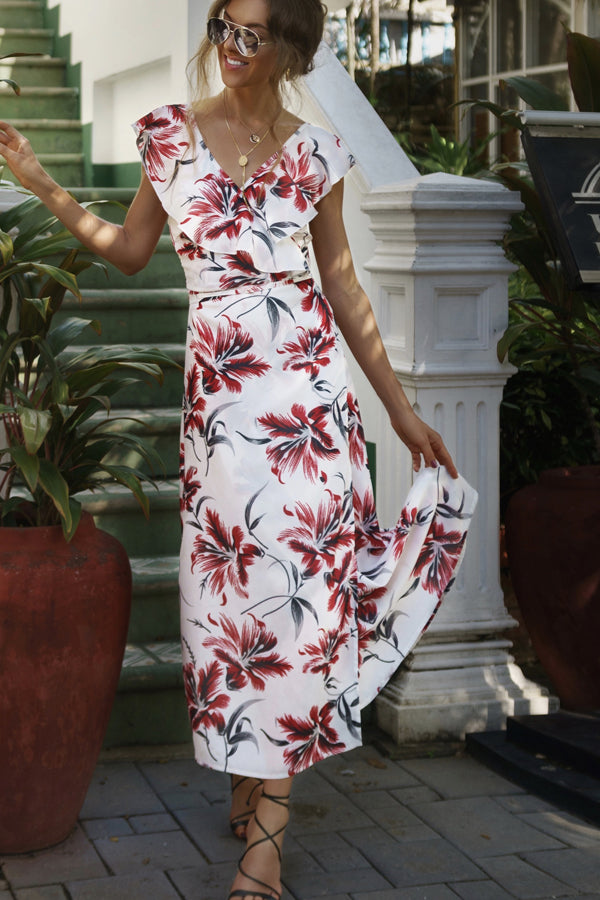 White Floral V Neck Tie Waist Maxi Dress