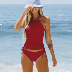 Wine Red Drawstring Side Halter Neck Tankini Set