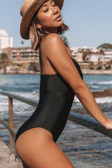 Tie Front Solid Black One Piece Swimwear