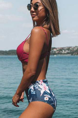Twist Front High Wasit Flower Print Bikini Set