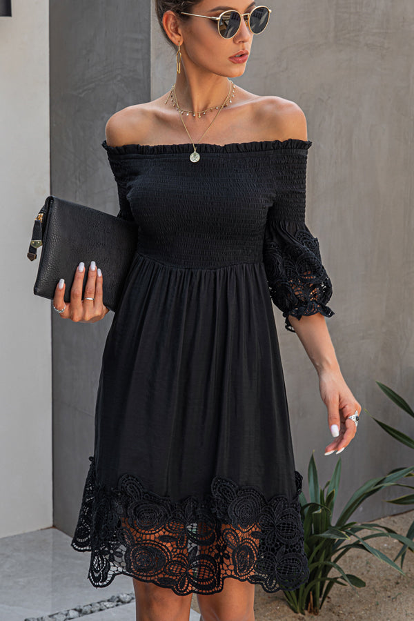 Off The Shoulder Lace Design Mini Dress