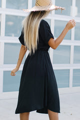 High Waist Button Design Casual Dress