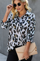 Long Sleeve Leopard Print Button Casual Blouse