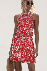 Polka Dot Print Halter Neck Casual Dress