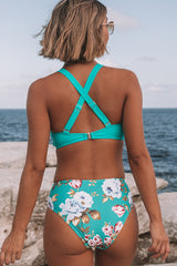 Flower Print Cross Back Bikini Set