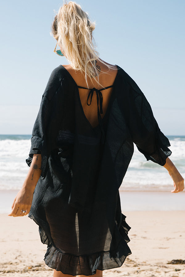 V Neck Solid Color Swimsuit Cover Up