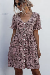 Dots Print V Neck Button Casual Dress