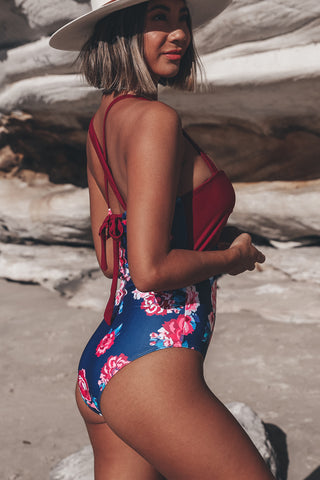 Flower Print Patchwork One Piece Swimwear