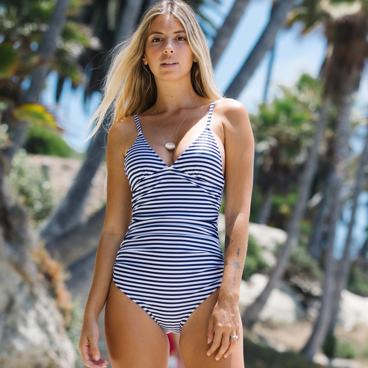 Stripe Print Ruched Design One Piece Swimsuit