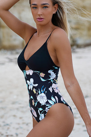 Twsit Front Flower Print Patchwork One Piece Swimwear