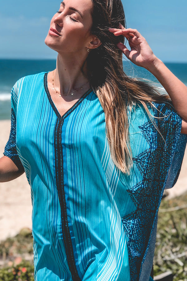 V Neck Printed Swimwear Cover Up