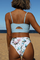 Push Up Flower Print High Waist Bikini Set