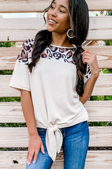 Leopard Print Tie Front Patchwork Casual Tops