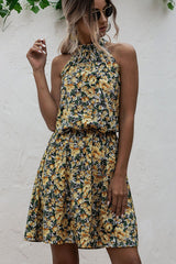 Halter Neck Flower Print Mini Dress