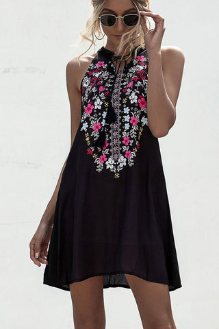 Embroidery Tie Neck Mini Dress