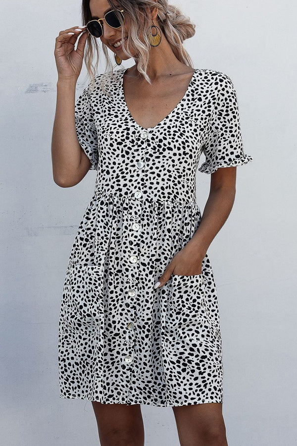 White and Black Spotted V Neck Button Casual Dress