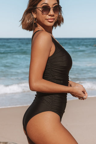 Ruched Design Solid Black One Piece Swimwear