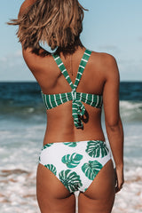 Stripe&Leaf Print High Waist Bikini Set