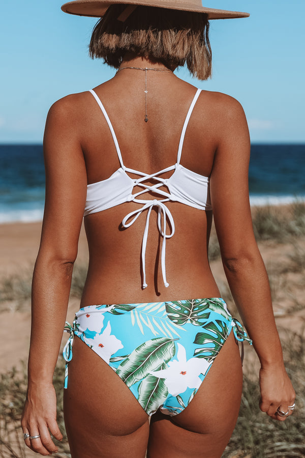 Lace Up Design Leaf Print Bikini Set