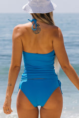 Halter Neck  Drawstring Side Blue Tankini Set