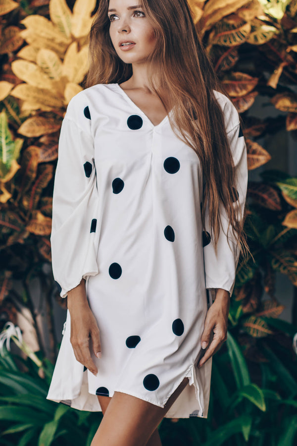 Cute Poka Dots Printed V Neck Mini Dress