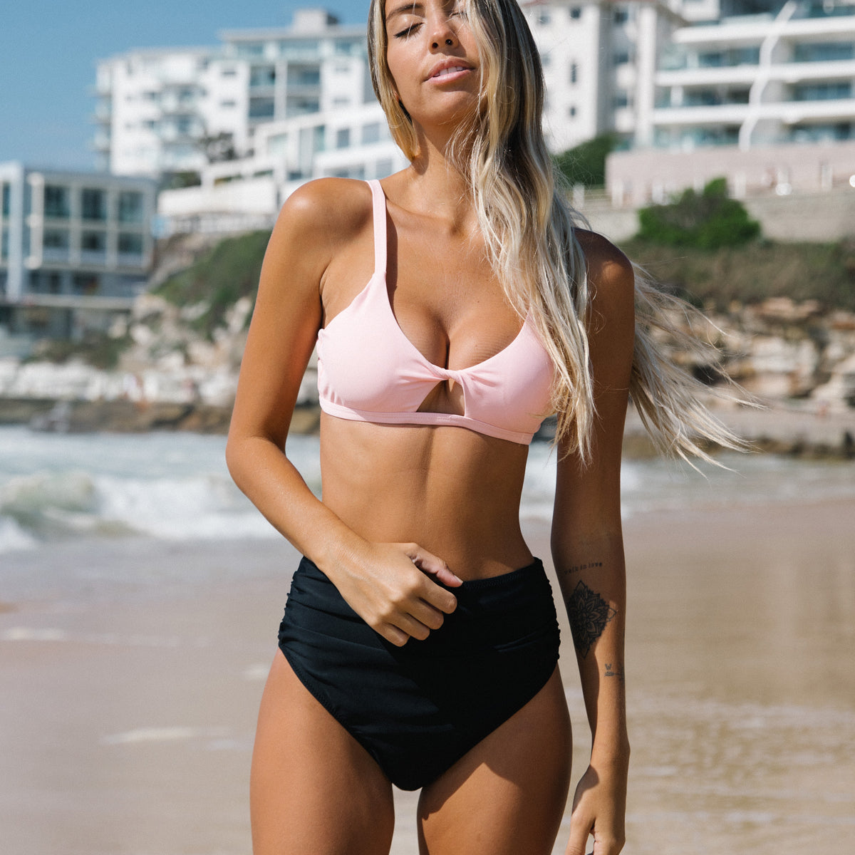High Waist Ruched Design Twist Front Bikini Set