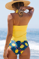 Halter Neck Fruit Print Bandeau Tankini Set