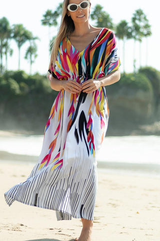 V Neck Drawstring Waist Printed Maxi Cover Up