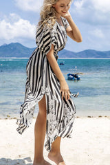 V Neck Stripe&Flower Print Swimwear Cover Up