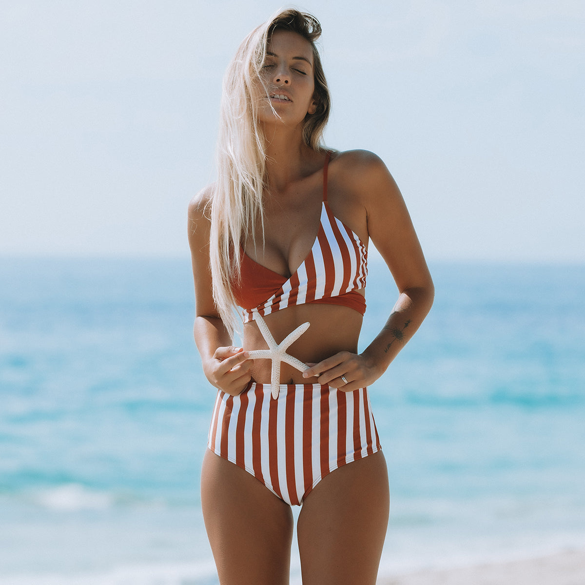 Stripe Print Patchwork High Waisted Bikini Set